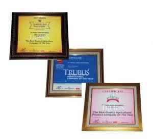 PT Royal Agro Indonesia memperoleh penghargaan sebagai perusahaan terpercaya dan produk pertanian terbaik selama 3 tahun berturut-turut.